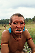 Roraima, Brazil. Yanomami man with wad of leaves in his lower lip and turquoise ear decorations.