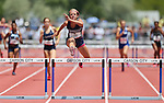 Centennial's Tiana Bonds sets a state record in the Division I girls 300-meter hurdles with a time of 41.47 seconds during the NIAA state track championships at Carson High, in Carson City, Nev., on Saturday, May 24, 2014. (Las Vegas Review-Journal, Cathleen Allison)