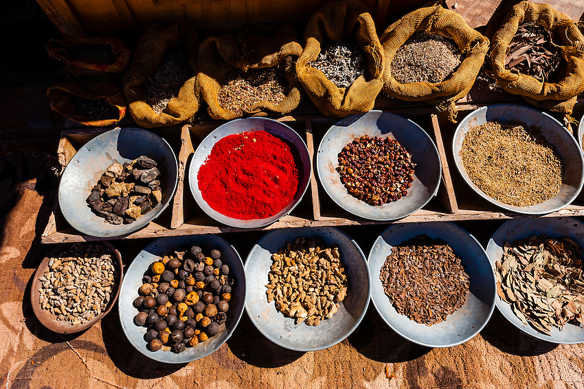 Spices on display outside a small shop inside the Petra Archaeological Park, Jordan.
