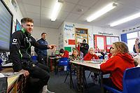 Pictured: Joe Rodon. Wednesday 29 January 2020<br /> Re: Swansea City AFC Community Trust visit Llangyfelach primary School in Swansea, Wales, UK.