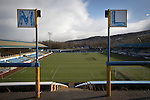 Greenock Morton 2 Stranraer 0, 21/02/2015. Cappielow Park, Greenock. Signs indicating the rows 'L' and 'M' on the traditional away end of the stadium, pictured before Greenock Morton take on Stranraer in a Scottish League One match at Cappielow Park, Greenock. The match was between the top two teams in Scotland's third tier, with Morton winning by two goals to nil. The attendance was 1,921, above average for Morton's games during the 2014-15 season so far. Photo by Colin McPherson.