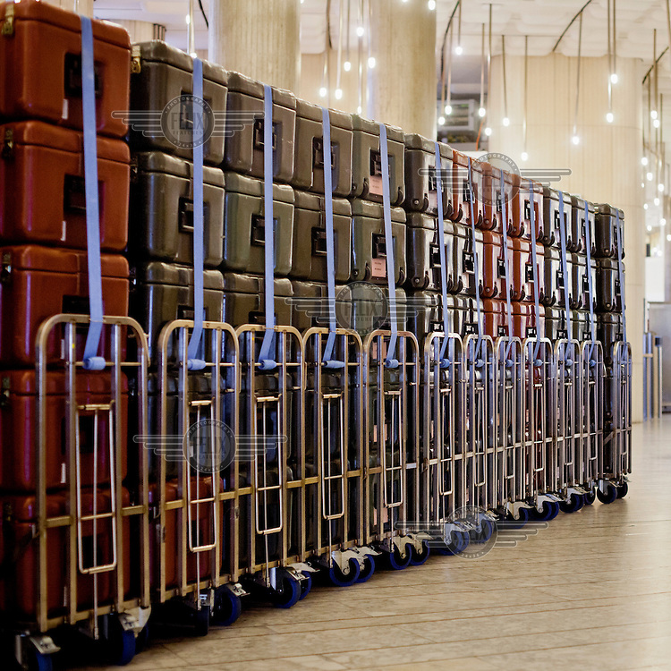 Trollies, at the European Parliament, loaded with document containers called 'cantines'. The cantines are used to transport documents between European Parliament sites in Brussels, Strasbourg and Luxembourg. Every month thousands of parliament's employees travel back and forth between the three sites of European government in Brussels, Strasbourg and Luxembourg, with their documents following them.