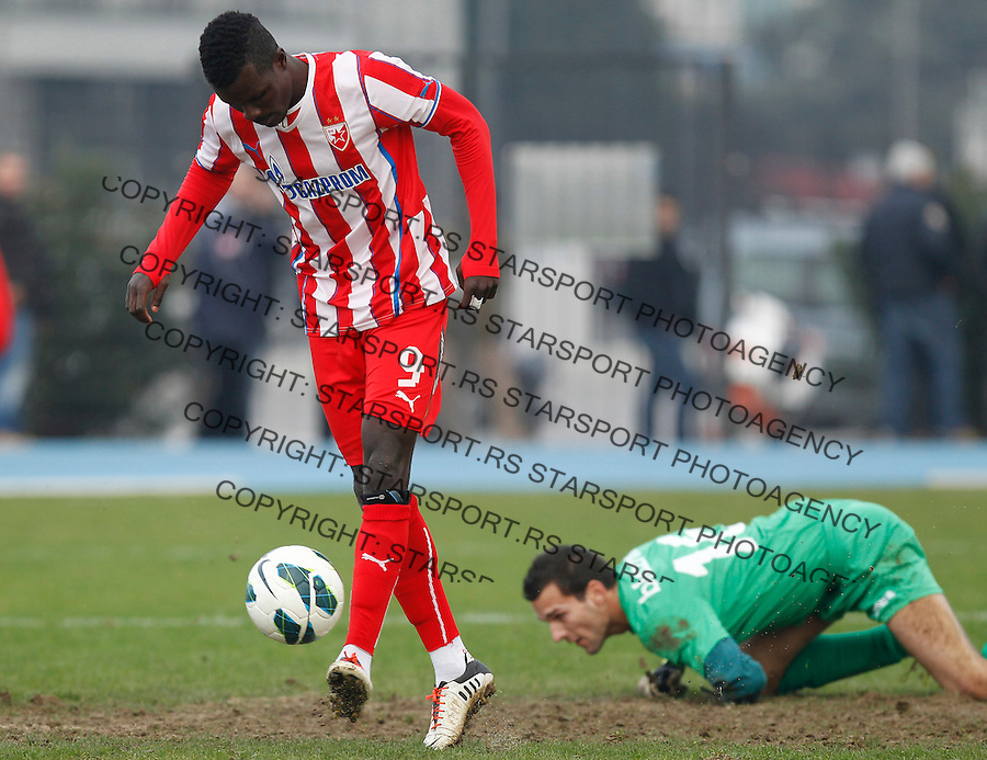 Fudbal season 2013-2014<br /> FK Crvena Zvezda pripreme Portoroz-Koper<br /> Crvena Zvezda v Ankaran<br /> Abiola Dauda (L)<br /> Koper 01.23.2014.<br /> foto: Srdjan Stevanovic/Starsportphoto &copy;