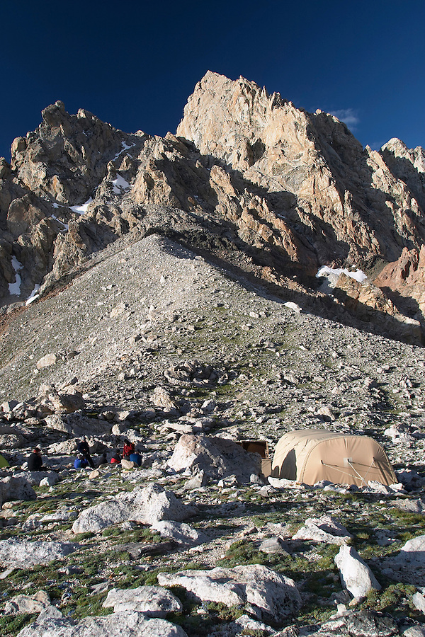 Climbers camp below the Grand Teton viewed from Lower Saddle, Grand Teton National Park, Teton County, Wyoming, USA