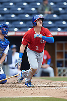 Reese McGuire (3) of the Buffalo Bison launches a 2-run home run during the game against the Durham Bulls at Durham Bulls Athletic Park on April 25, 2018 in Allentown, Pennsylvania.  The Bison defeated the Bulls 5-2.  (Brian Westerholt/Four Seam Images)