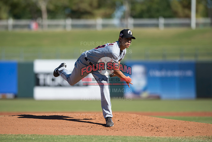 Glendale Desert Dogs starting pitcher Justin Garza (34), of the Cleveland Indians organization, follows through on his delivery during an Arizona Fall League game against the Surprise Saguaros at Surprise Stadium on November 13, 2018 in Surprise, Arizona. Surprise defeated Glendale 9-2. (Zachary Lucy/Four Seam Images)