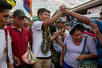 "Andronico Rodriguez, a leader of coca growers known as ""cocaleros"", shakes hands with supporters during a youth leading demonstration of the regional coca growers' union, in Eterazama town, Chapare region, Bolivia. December 01, 2019.<br /> Andronico Rodriguez, un leader des cultivateurs de coca connu sous le nom de ""cocaleros"", serre la main de ses partisans lors d'une manifestation de jeunes dirigeants du syndicat régional des cultivateurs de coca, à Eterazama, région du Chapare, Bolivie. 01 décembre 2019."