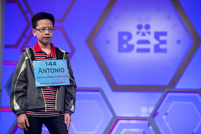 Speller No. 144, Antonio Vince Miguel Arellano Lansang, 13, seventh grader at Neligh-Oakdale Public School, Neligh, Nebraska, competes in the preliminary rounds of the Scripps National Spelling Bee at the Gaylord National Resort and Convention Center in National Habor, Md., on Wednesday, May 29, 2013. Photo by Bill Clark