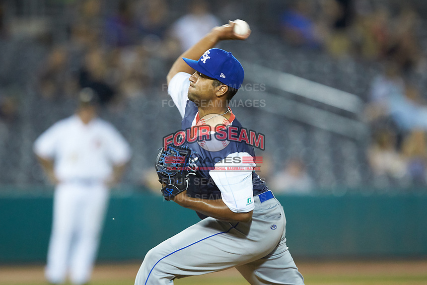 Lexington Legends relief pitcher Jacob Condra-Bogan (16) in action against the West Virginia Power at Appalachian Power Park on June 7, 2018 in Charleston, West Virginia. The Power defeated the Legends 5-1. (Brian Westerholt/Four Seam Images)