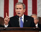 United States President George W. Bush gives his fifth State of the Union speech Tuesday, January 31, 2006, on Capitol Hill in Washington, DC  <br /> Credit: Pablo Martinez Monsivais / Pool via CNP