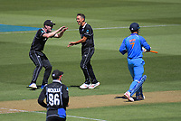 Trent Boult celebrates dismissing MS Dhoni during the One Day International cricket match between NZ Black Caps and India at Westpac Stadium in Wellington, New Zealand on Sunday, 3 February 2019. Photo: Dave Lintott / lintottphoto.co.nz