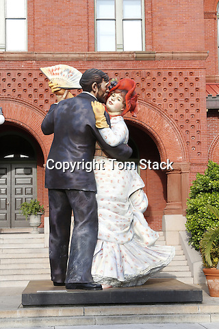 "A large sculpture, ""Time For Fun"" by Seward Johnson, in front of the Key West Art and Historical Society Museum in the historic Custom House building."