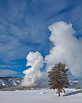 Yellowstone National Park, WY <br /> Old Faithful Geyser erupting in winter