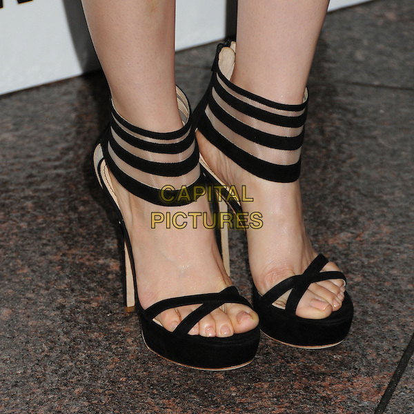 """Alison Brie's shoes .""""Mad Men"""" Season Six Los Angeles Premiere held at the Director's Guild of America, West Hollywood, California, USA..March 20th, 2013.feet heels detail platform black stripe straps ankle strap .CAP/ADM/BP.©Byron Purvis/AdMedia/Capital Pictures."""