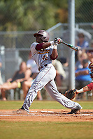 Central Michigan Chippewas center fielder Dazon Cole (42) at bat during a game against the Boston College Eagles on March 8, 2016 at North Charlotte Regional Park in Port Charlotte, Florida.  Boston College defeated Central Michigan 9-3.  (Mike Janes/Four Seam Images)