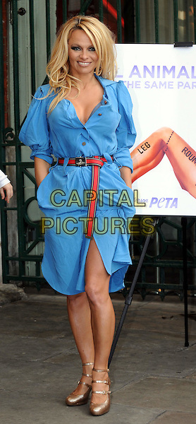 PAMELA ANDERSON.Attends a photocall for PETA at the .London Transport Museum, Covent garden, London, England, UK, .October 24, 2010..full length blue shirt belt red dress Vivienne Westwood gold mary janes shoes triple strap hands in pockets .CAP/WIZ.© Wizard/Capital Pictures.