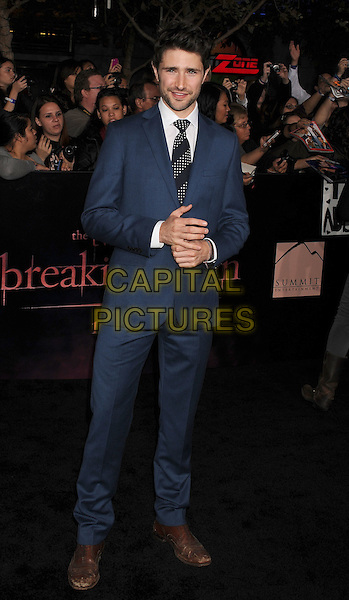 Matt Dallas.The Los Angeles premiere of 'The Twilight Saga Breaking Dawn Part 1' at Nokia Theatre at L.A. Live in Los Angeles, California, USA..November 14th, 2011.full length black grey gray white shirt blue suit .CAP/ROT/TM.©Tony Michaels/Roth Stock/Capital Pictures