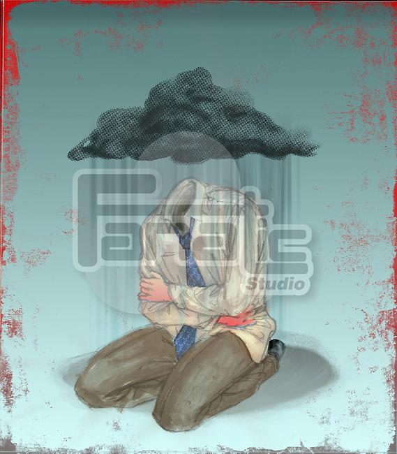Illustrative image of businessman getting wet in rain representing unemployment