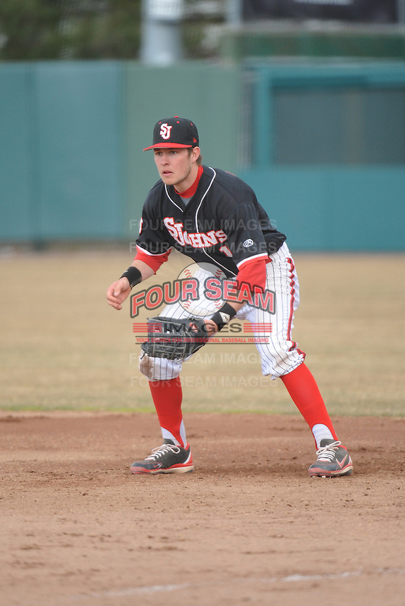 St. John's Redstorm infielder Kyle Lombardo (10) during 2nd game of double header against the University of Cincinnati Bearcats at Jack Kaiser Stadium on March 28, 2013 in Queens, New York. Cincinnati defeated St. John's 6-5.      . (Tomasso DeRosa/ Four Seam Images)