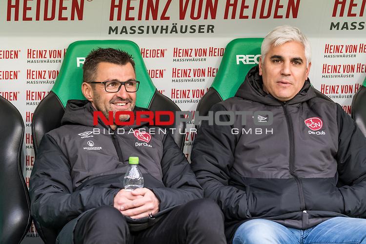 09.02.2019, HDI Arena, Hannover, GER, 1.FBL, Hannover 96 vs 1. FC Nuernberg<br /> <br /> DFL REGULATIONS PROHIBIT ANY USE OF PHOTOGRAPHS AS IMAGE SEQUENCES AND/OR QUASI-VIDEO.<br /> <br /> im Bild / picture shows<br /> Michael Köllner / Koellner (Trainer 1. FC Nuernberg) mit Wasserflasche und Andreas Bornemann (Vorstand Sport 1. FC Nuernberg) auf Trainerbank vor dem Spiel, <br /> <br /> Foto © nordphoto / Ewert