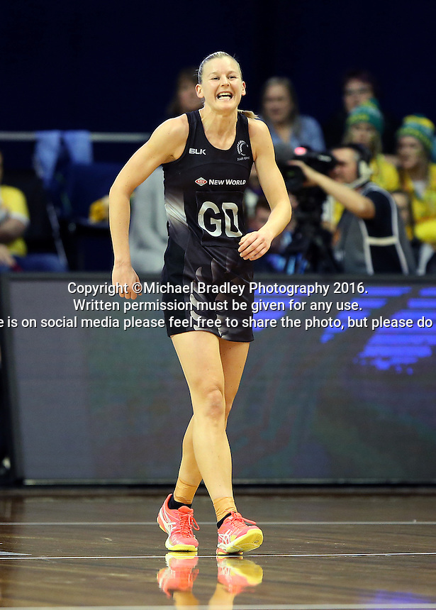 12.10.2016 Silver Ferns Katrina Grant in action during the Silver Ferns v Australia netball test match played at the Silver Dome in Launceston in Australia.. Mandatory Photo Credit ©Michael Bradley.