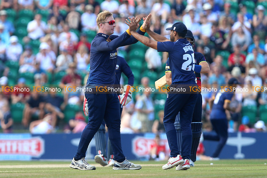 Simon Harmer of Essex celebrates taking the wicket of Joe Denly during Kent Spitfires vs Essex Eagles, NatWest T20 Blast Cricket at The County Ground on 9th July 2017