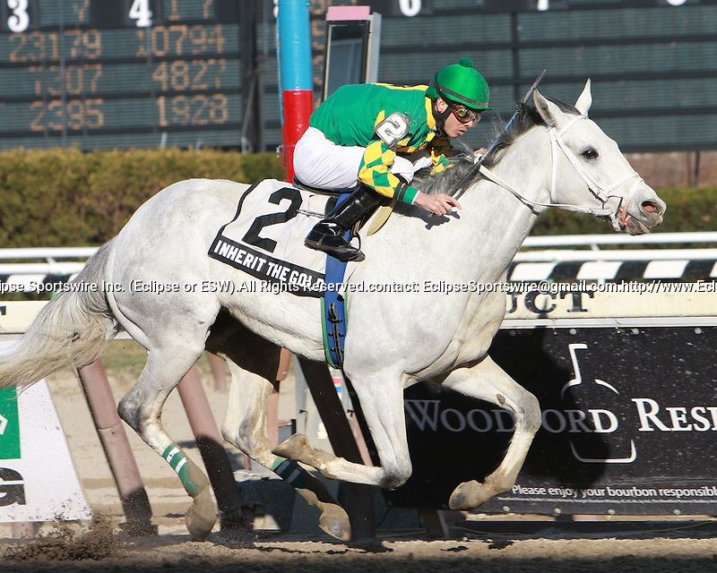 2011 04 02: Favorite Inherit the Gold, NY-bred, and Eddie Castro, win the 99th running of the Grade 3 Excelsior Stakes, for 3-year old & up at 1 1/8 mile, Aqueduct Racetrack, Jamaica, NY. Trainer James Hooper. Owner James Hooper and Glas-Tipp Stable, LLC