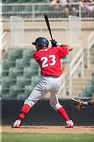 Jose Pujols (23) of the Lakewood BlueClaws at bat against the Kannapolis Intimidators at Kannapolis Intimidators Stadium on May 8, 2016 in Kannapolis, North Carolina.  The Intimidators defeated the BlueClaws 3-2.  (Brian Westerholt/Four Seam Images)