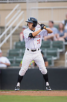 Frank Califano (22) of the Kannapolis Intimidators at bat against the Asheville Tourists at Intimidators Stadium on May 28, 2016 in Kannapolis, North Carolina.  The Intimidators defeated the Tourists 5-4 in 10 innings.  (Brian Westerholt/Four Seam Images)