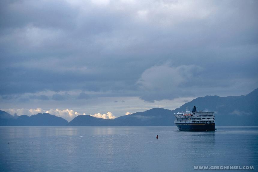 The Alaska Marine Highway Ferry M/V Kennicott departs from Seward. Summer on the Kenai Pennisula of Southcentral Alaska.