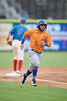 St. Lucie Mets third baseman Michael Paez (5) runs home during a game against the Clearwater Threshers on August 11, 2018 at Spectrum Field in Clearwater, Florida.  St. Lucie defeated Clearwater 11-0.  (Mike Janes/Four Seam Images)