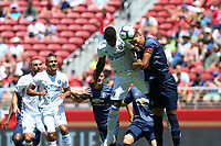 Santa Clara, CA - Sunday July 22, 2018: Harold Cummings, Antonio Valencia during a friendly match between the San Jose Earthquakes and Manchester United FC at Levi's Stadium.