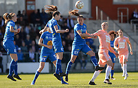 20190324 - OOSTAKKER , BELGIUM : Anderlecht's Ella Van Kerkhoven (r) pictured in a duel with Gent's Lenie Onzia (middle) and Nicky Van Den Abbeele during the quarter final of Belgian cup 2019 , a womensoccer game between KAA Gent Ladies and RSC Anderlecht , at the PGB stadion in Oostakker , sunday 24 th March 2019 . PHOTO SPORTPIX.BE | DAVID CATRY
