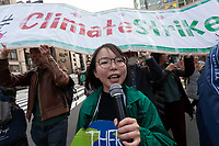 "Aina Koide, one of the organisers of the Global Strike for Future at the United Nations University, Shibuya, Tokyo, Japan.Friday March 15th 2019. Part of a global day of action in 98 countries and nearly 2,000 cities; this was Japan's second Fridays for Future event, known as ""School strikes"", and took place from 2pm to 4pm with activists and students holding signs demanding leaders, internationally and nationally, take measures to reduce ecologically damaging activities. The movement was started in 2018 by Swedish schoolgirl, Greta Thunberg, who began striking from her lessons when she realised that adult leaders were doing nothing to ensure there would be the future she was studying for."