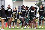 Harbor City, CA 09/24/10 - Narbonne Cheerleaders prepare for the game opening ceremonies at Narbonne High School.