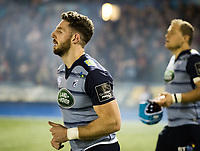 Cardiff Blues' Alex Cuthbert takes to the pitch<br /> <br /> Photographer Simon King/CameraSport<br /> <br /> Guinness Pro14 Round 6 - Cardiff Blues v Dragons - Friday 6th October 2017 - Cardiff Arms Park - Cardiff<br /> <br /> World Copyright &copy; 2017 CameraSport. All rights reserved. 43 Linden Ave. Countesthorpe. Leicester. England. LE8 5PG - Tel: +44 (0) 116 277 4147 - admin@camerasport.com - www.camerasport.co