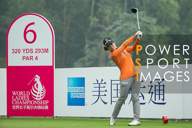 Seung Hyun Lee of South Korea tees off at the 6th hole during Round 4 of the World Ladies Championship 2016 on 13 March 2016 at Mission Hills Olazabal Golf Course in Dongguan, China. Photo by Victor Fraile / Power Sport Images