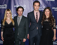 "BEVERLY HILLS, CA, USA - MARCH 26: Melissa Rauch, Simon Helberg, Jim Parsons, Mayim Bialik at the 22nd ""A Night At Sardi's"" To Benefit The Alzheimer's Association held at the Beverly Hilton Hotel on March 26, 2014 in Beverly Hills, California, United States. (Photo by Xavier Collin/Celebrity Monitor)"