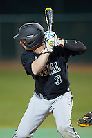 Reid Moman (3) of the Coastal Carolina Chanticleers at bat against the High Point Panthers at Willard Stadium on March 15, 2014 in High Point, North Carolina.  The Panthers defeated the Chanticleers 11-8 in game two of a double-header.  (Brian Westerholt/Four Seam Images)