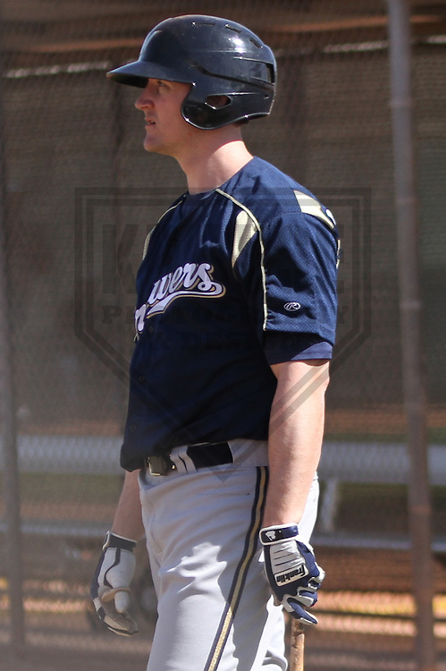 MARYVALE - March 2014: Brock Kjeldgaard of the Milwaukee Brewers during a spring training workout on March 18th, 2014 at Maryvale Baseball Park in Maryvale, Arizona.  (Photo Credit: Brad Krause)