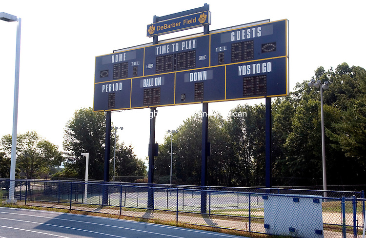 SEYMOUR CT. 17 August 2015-081815SV03-The scoreboard at Seymour High in Seymour Tuesday.<br /> Steven Valenti Republican-American