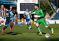 Penalty appeal as Myles Weston of Wycombe Wanderers goes down in the box during the Sky Bet League 2 match between Wycombe Wanderers and Notts County at Adams Park, High Wycombe, England on the 25th March 2017. Photo by Liam McAvoy.
