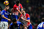 Rodrigo Cascante of Atletico de Madrid (C) heads the ball during the La Liga 2018-19 match between Atletico de Madrid and Athletic de Bilbao at Wanda Metropolitano, on November 10 2018 in Madrid, Spain. Photo by Diego Gouto / Power Sport Images