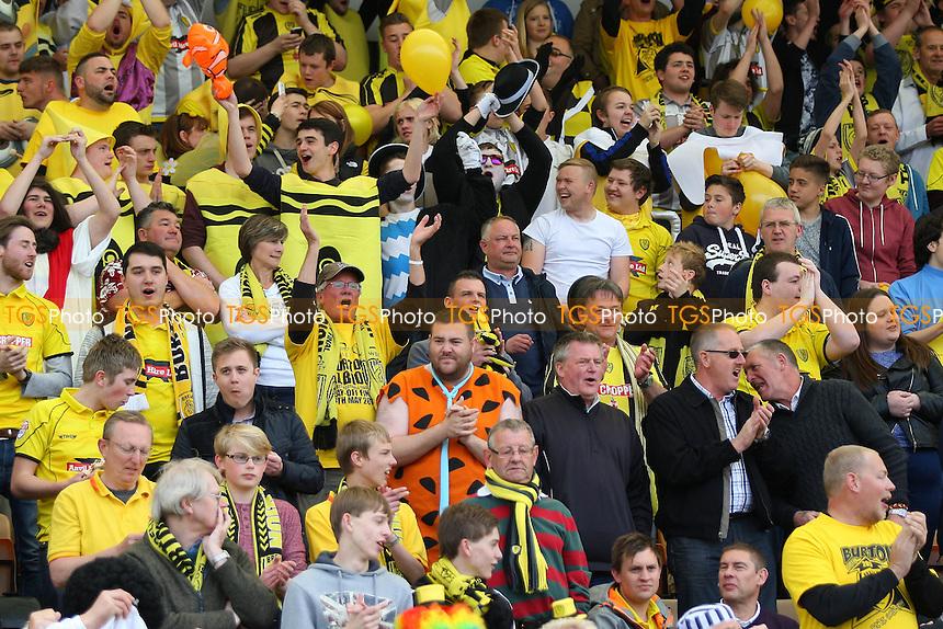 Burton fans celebrate - Cambridge United vs Burton Albion - Sky Bet League Two Football at the Abbey Stadium, Cambridge - 02/05/15 - MANDATORY CREDIT: Mick Kearns/TGSPHOTO - Self billing applies where appropriate - contact@tgsphoto.co.uk - NO UNPAID USE