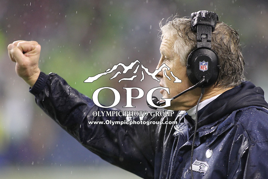 Dec 23, 2012:  Seattle Seahawk's head coach Pete Carroll against the San Francisco during Sunday nights game of the week at Century Link Stadium in Seattle WA.  Seattle defeated San Francisco 42-13.