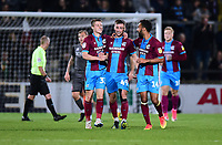 Scunthorpe United's Ryan Colclough centre, celebrates scoring the opening goal with team-mate <br /> <br /> Photographer Andrew Vaughan/CameraSport<br /> <br /> The EFL Checkatrade Trophy Northern Group H - Scunthorpe United v Lincoln City - Tuesday 9th October 2018 - Glanford Park - Scunthorpe<br />  <br /> World Copyright &copy; 2018 CameraSport. All rights reserved. 43 Linden Ave. Countesthorpe. Leicester. England. LE8 5PG - Tel: +44 (0) 116 277 4147 - admin@camerasport.com - www.camerasport.com