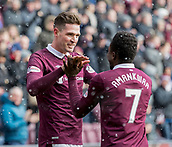 17th March 2018, Tynecastle Park, Edinburgh, Scotland; Scottish Premier League football, Heart of Midlothian versus Partick Thistle;  Kyle Lafferty of Hearts celebrates after scoring opening goal with Danny Amankwaa
