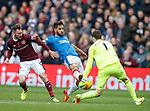 Hearts keeper Jon McLaughlin handles outside the box as Daniel Candeias challenges