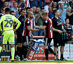 Mark Duffy of Sheffield Utd replaced by Samir Carruthers of Sheffield Utd during the Championship match at Bramall Lane, Sheffield. Picture date 26th August 2017. Picture credit should read: Simon Bellis/Sportimage