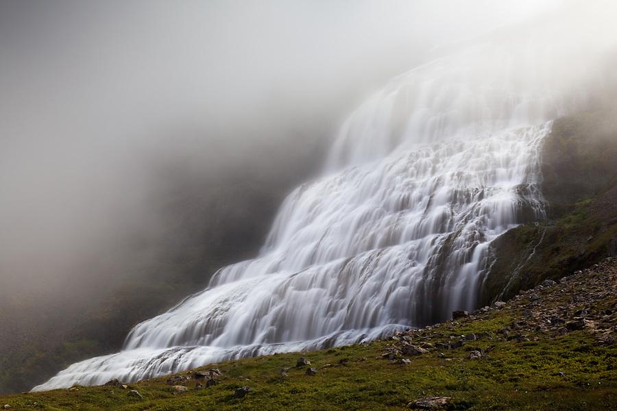 Dynjandisa River falls over Dynjandi (Fjallfoss) waterfall, West Iceland, Iceland